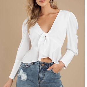 White Tobi Long Sleeve Blouse